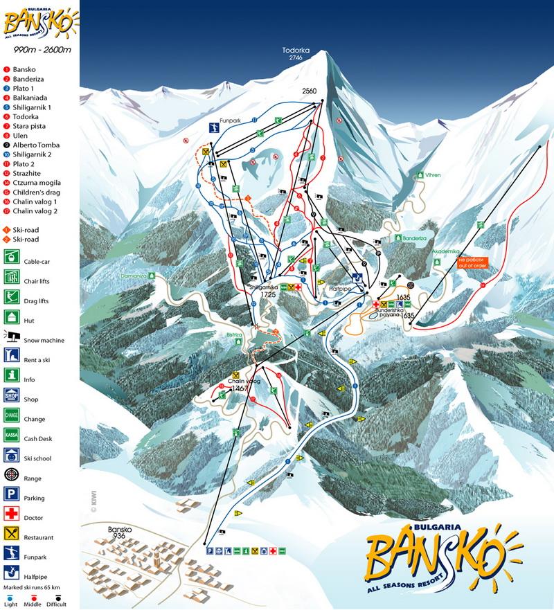 карта на Банско